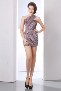 Leopard One Shoulder Sexy Corpus Christi College Graduation Dresses