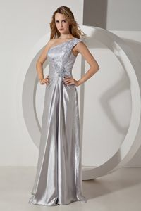 Beading One Shoulder Silver Ruched Fredericksburg Graduation Dresses