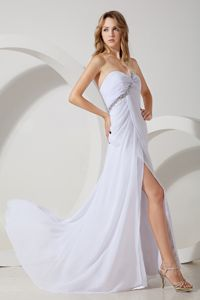 White One Shoulder Beaded Chiffon Galveston Graduation Evening Dress