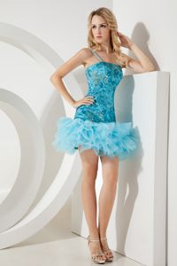 Aqua Blue Sequin Straps Short Prom Graduation Dress in Georgetown
