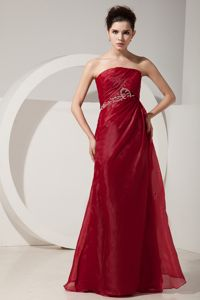 Cheap Wine Red Beading Organza Graduation Dresses in Grand Prairie
