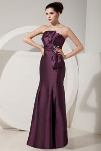Beading Dark Purple Satin Ruched College Lubbock Graduation Dresses