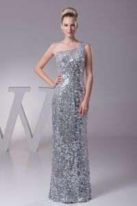 Silver Sequined One Shoulder Blacksburg Pretty Graduation Dresses