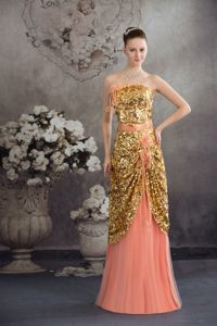 Hand Made Flowers Sequins Gold Graduation Dresses in Friday Harbor