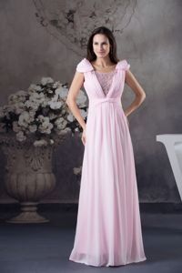 Baby Pink Beaded Scoop Chiffon Graduation Dresses with Cap Sleeves