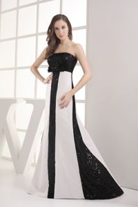Sequin Bowknot Black and White California University Graduation Dress