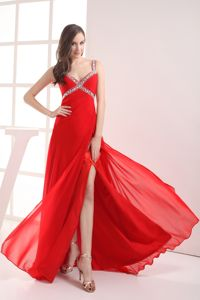 Beaded Straps High Slit Red Senior Graduation Dress in Woodinville
