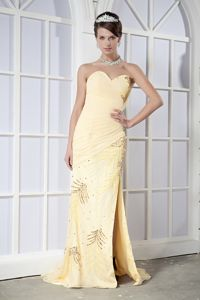 Sequins Light Yellow Ruched Slit College Appleton Graduation Dress