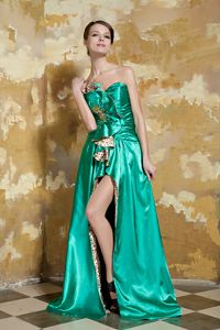 Leopard Green Train Beading Senior Graduation Dress in Eau Claire