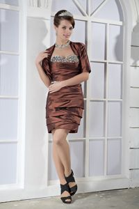 Beading Brown Sweetheart Ruched College Graduation Dresses in Oshkosh