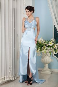 Baby Blue Halter Graduation Dress Straps Beading Waist Cutout