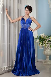 Halter Royal Blue Prom Dress for Graduation Beaded Brush Train