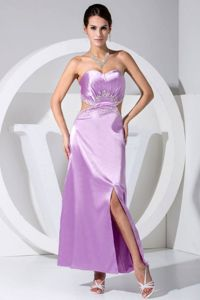Ankle-Length Lavender Graduation Dress with Cutout Waist and Slit on the Side