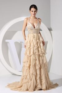 Straps Brush Train Graduation Dresses in Champagne with Ruffles and Embroidery