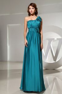 One Shoulder Floor-length Teal Graduation Dress for High School in Cherryfield
