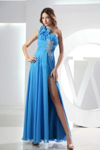Blue One Shoulder High Slit Graduation Dress for Middle School in Ankle-length