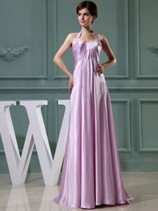 Halter Top Empire Floor-length College Graduation Dress in Lilac with Ruching