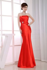 Mermaid Strapless Floor-length Red Graduation Dresses for High School in Perry