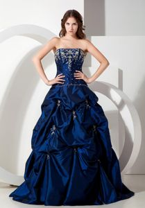 Royal Blue Strapless Floor-length Graduation Dresses with Beading and Pick-ups