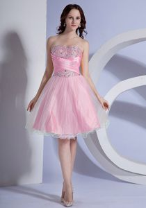 Pink Beaded Sweetheart Mini-length College Graduation Dresses in Harpers Ferry