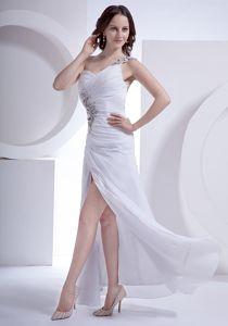 White One Shoulder High Slit Ankle-length College Graduation Dress in Epworth