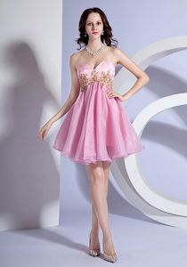 Appliqued Sweetheart Mini-length Graduation Dresses for Middle School in Pink