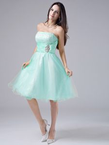 Light Blue Strapless Knee-length Graduation Dresses for Middle School in Conrad