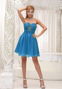 Simple Sweetheart Mini-length College Graduation Dresses in Blue with Beading
