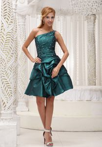 Turquoise One Shoulder Mini-length Middle School Graduation Dress in Osgood