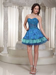 Shimmery Sweetheart Mini-length 5th Grade Graduation Dresses in Blue and Teal