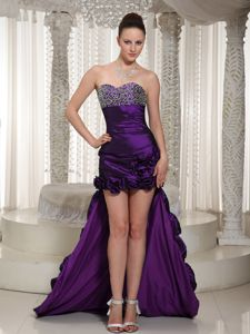 Eggplant Purple Sweetheart High-low College Graduation Dresses with Beading
