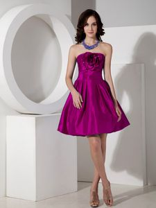 Modest Fuchsia Strapless Graduation Ceremony Dress in Mini-length in Nineveh