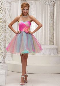 Sweetheart Mini-length College Graduation Dresses in Multi-color with Flower