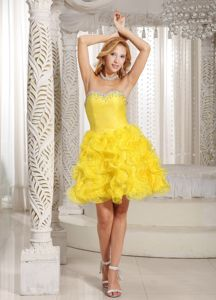 Lovely Yellow Ruffled Sweetheart Mini-length Graduation Dresses for 8th Grade
