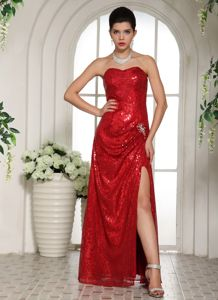 Wine Red Sweetheart Floor-length 5th Grade Graduation Dresses with Sequins
