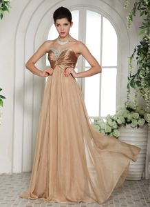 Sweetheart Floor-length Champagne Graduation Dresses for High School in Dale