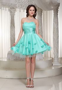 Cute Turquoise Sweetheart Mini-length College Graduation Dresses with Flowers