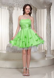 Sweetheart Mini-length Graduation Dresses for 8th Grade in Green with Flowers