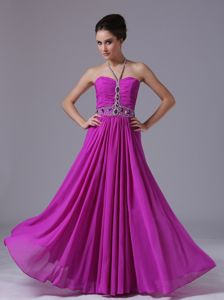 Beaded and Ruched Halter Fuchsia Graduation Ceremony Dresses in Floor-length