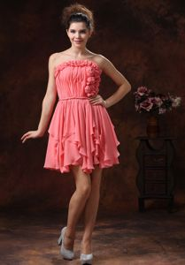 Ruched Strapless Short College Graduation Dresses in Watermelon with Flowers