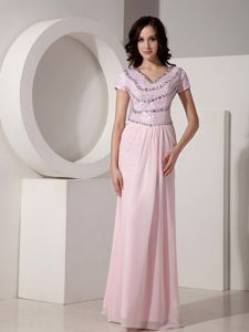 Simple Baby Pink Empire V-neck Cheap Graduation Dresses with Short Sleeves