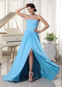 Aqua Blue Sweetheart High Slit Graduation Dress for Juniors with Cutout Waist