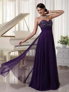 New Sweetheart Floor-length Purple Graduation Ceremony Dress with Appliques