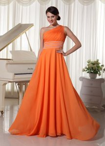 Orange One Shoulder A-line Floor-length College Graduation Dress in Caledonia