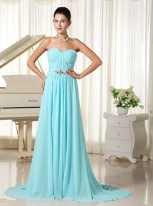 Elegant Sweetheart Aqua Blue Eighth Grade Graduation Dresses with Brush Train