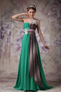 Unique Green One Shoulder Graduation Dresses for High School with Brush Train
