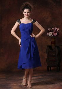 Ruched Straps Navy Blue Tea-length College Graduation Dresses in Iliamna