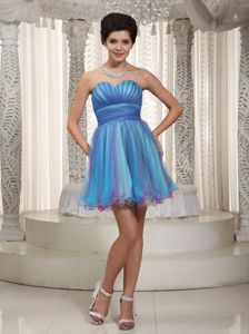 Aqua Sweetheart Short Ruched Middle School Graduation Dresses in Healy