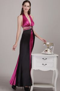 Fuchsia Empire Halter Ankle-length Grad Dress in Fritz Creek with Beading