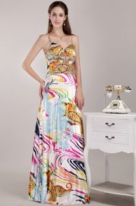 Beautiful Empire Strap Print Beading Graduation Ceremony Dresses in Ester